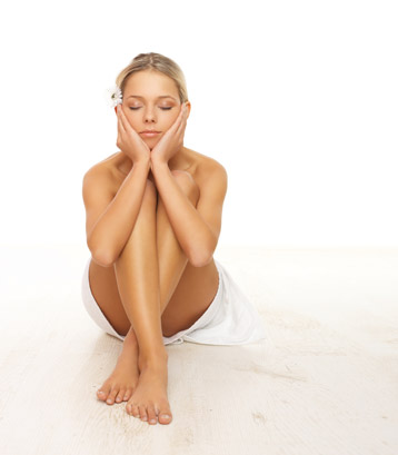Beautiful skin care treatments - Woman with great skin relaxing